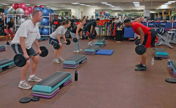 weight-lifting class in student gym