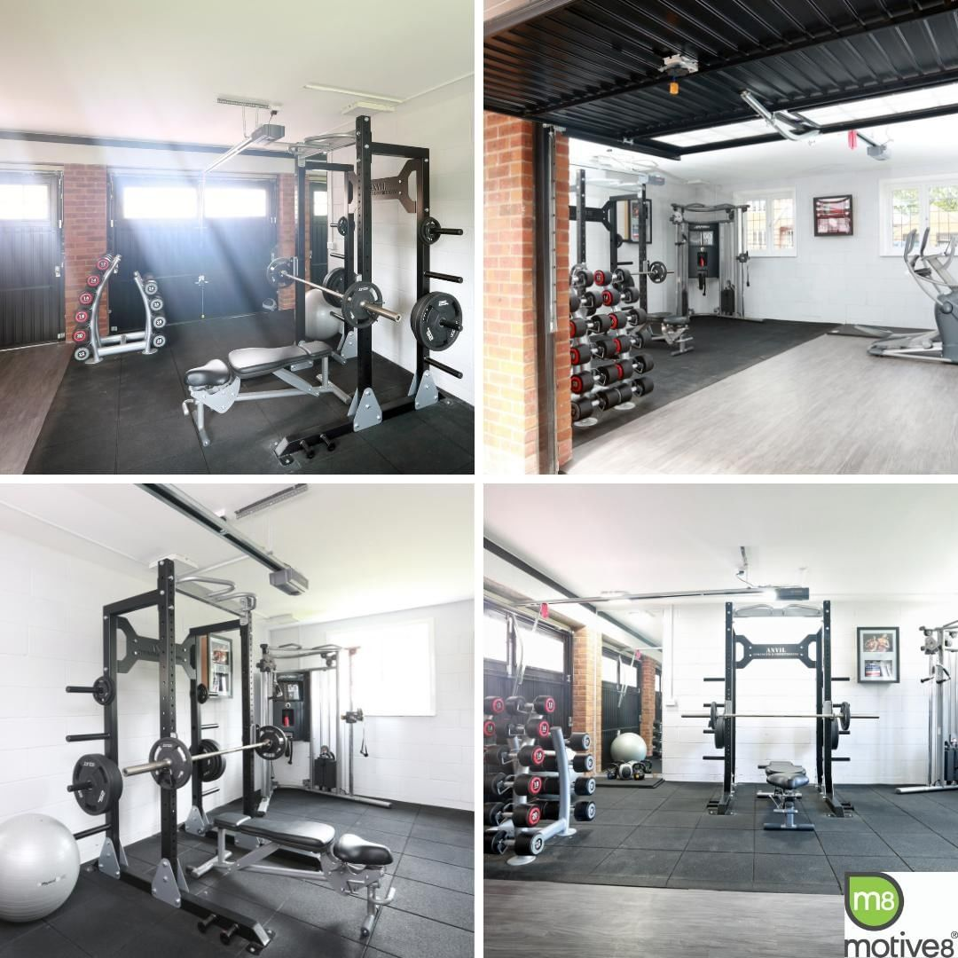 There are much better things to put in a garage than cars! Having bought their new home off-plan, this home gym client was given the opportunity to choose how they wished to use each space, and they decided to turn their double garage into a home gym. We created a functional and design-led gym that would fulfill all their fitness requirements, splitting the room into two halves – one for cardio and floor work and the other for strength, resistance and free weights. We hope you'll agree that the result is stunning! . . . #homegym #gymdesign #property #propertydevelopment #offplanproperty #workoutathome
