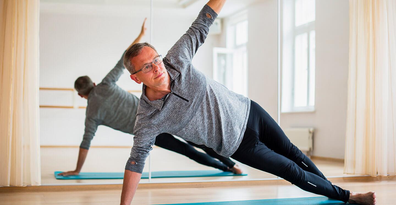 Senior man keeping fit